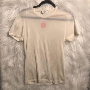 NWT Vintage YSL Rive Gauche Cream T-Shirt Size S